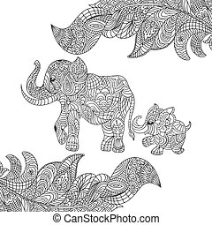 Vector monochrome hand drawn zentagle illustration of an elephant and baby elephant. Coloring page with high details isolated on white background. Boho style.