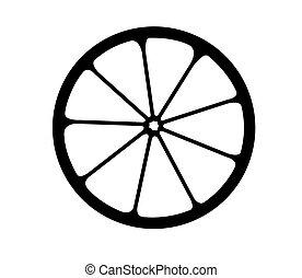 Vector monochrome illustration of citrus logo.