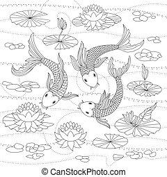 Vector monochrome illustration of japanese koi for coloring...