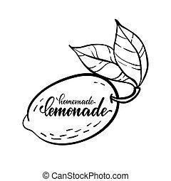 Vector monochrome illustration of lemon logo with lettering inscriptions Homemade Lemonade. design for holiday greeting card and invitation of seasonal summer holidays, logo
