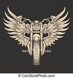 Vector monochrome illustration of motorcycle with wings.