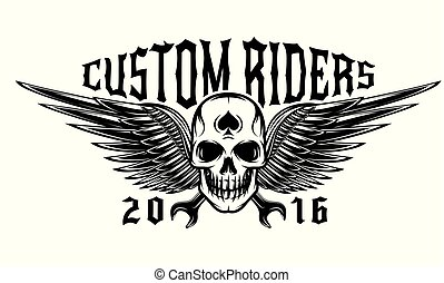 Vector monochrome illustration on a motorcycle theme with skull and wings