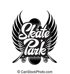 Vector monochrome illustration on skateboarding with calligraphic inscription