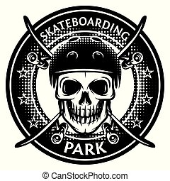 Vector monochrome illustration on the theme of skateboarding with skull and helmet