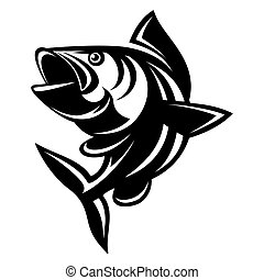 Vector monochrome illustration with a carp on theme of fishing