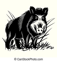 vector monochrome illustration with a wild boar in thicket...