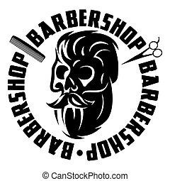Vector monochrome illustration with bearded skull for barbershop