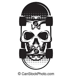 Vector monochrome illustration with united skate with skull
