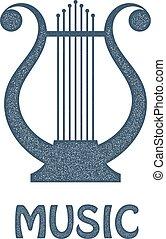 Vector monochrome image of vintage Lyre on a white background. Ancient Greek music