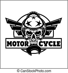 vector monochrome image on a motorcycle theme with skull and wings