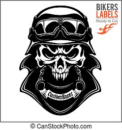 vector monochrome image on a motorcycle theme with skull