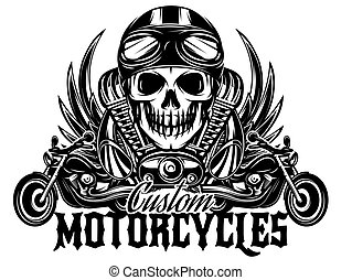 vector monochrome image with skulls, motorcycles, wings,...