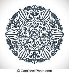 Mandala Round Ornament Pattern - Vector Monochrome Mandala...