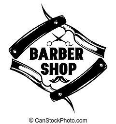 Vector monochrome pattern for barbershop with mustache, razor, scissors