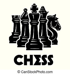 Vector monochrome pattern on chess theme with chess and...