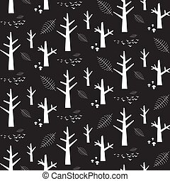 Vector monochrome seamless pattern with white nature elements on a black background