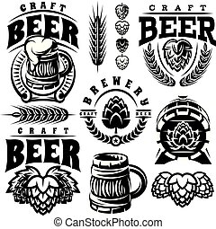 vector monochrome set of illustrations, signs, design elements for design of beer theme