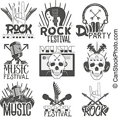 Vector monochrome set of music theme emblems. Isolated badges, logos, banners or stickers with guitars, microphones, headphones and skulls in vintage style