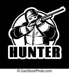 monochrome stylish template for the club with a hunter and gun
