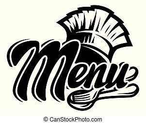 Vector monochrome template for a menu with a chef s hat, fork, spoon