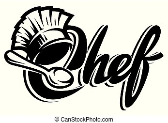 Vector monochrome template for a menu with a chef s hat, spoon