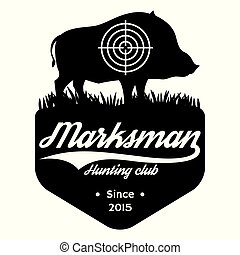 Vector monochrome template with wild boar on the theme of hunting