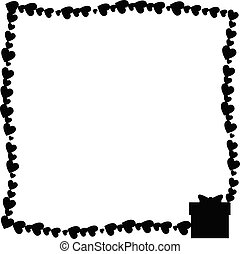Vector monochrome vintage photo frame made of hearts with gift box silhouette in corner.