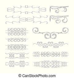vector, monogrammen, dividers, natuur, ornament., lijnen, hoeken, motieven, set, black , retro, achtergrond, floral, witte
