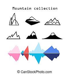vector, montaña, conjunto