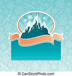 vector, montaña, señal, emblema