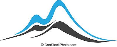 vector, -, montañas, con, escarpado, picos