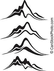 vector, montañas, -, escarpado, picos