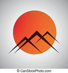 vector, montañas, y, sol, icono
