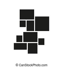Vector mood board of nine frames. Black photo collage ...
