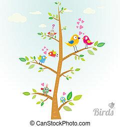vector, mooi en gracieus, vogels, op, tak