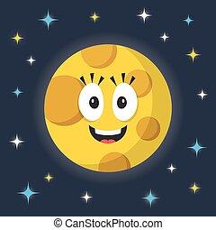 vector, moon., spotprent, maan, karakter