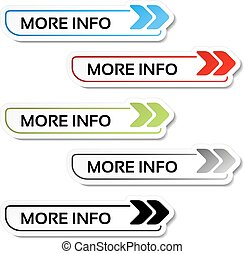 Vector more info buttons with arrows - labels on the white background