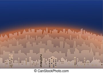 Vector morning or evening landscape of city
