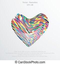 Vector mosaic hearts flat background.