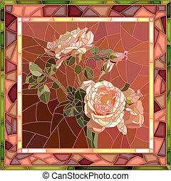 Vector mosaic illustration of roses.