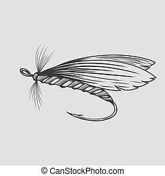 vector, mosca, vendimia, illustration., pesca, pesca, ...