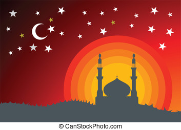 Vector mosque and star - Vector mosque, crescent and stars
