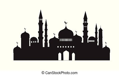 Vector mosque Icon isolated on white background