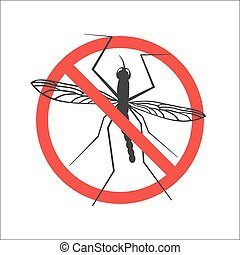 Vector mosquito stop symbol or sign