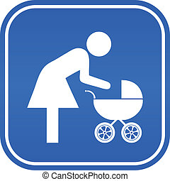 Vector mother and child sign - Mother and child sign, vector...