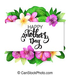 Vector mothers day greetings card with hand lettering -...