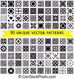 vector, motieven, negentig, set