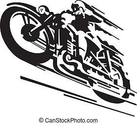vector, motocicleta, plano de fondo