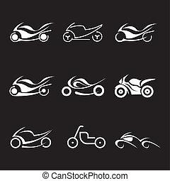 vector, -, motocicletas, iconos