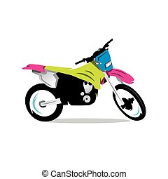 Vector Motocross Bike Cartoon Illustration. - Motocross...
